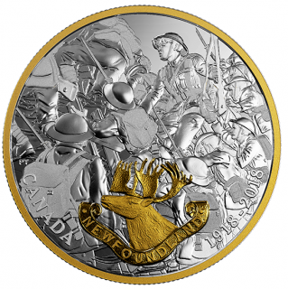 2018 - $20 - 1 oz. Pure Silver Gold-Plated Coin - First World War Allies: Newfoundland