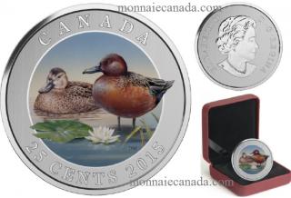 2015 - 25¢ - Cinnamon Teal - Coloured Coin