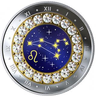 2019 - $5 - Pièce en argent pur rehaussée de cristaux SwarovskiMD - Signes du zodiaque : Lion