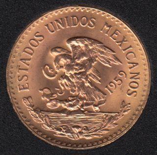 Mexico - 1959 - 20 Pesos  B.Unc. - 16.67 gr. - 0.900 Gold - .4823 oz AGW