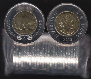 2018 Canada $2 Dollars - Polar Bear - BU ROLL 25 Coins - UNC