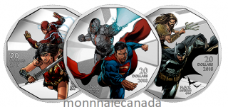 2018 - The Justice LeagueTM: 1 oz. Pure Silver Coloured 3-Coin Set