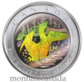 2002 - $5  Anniversary Loon hologram Pure Silver Coin
