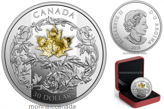 2018 - $30 - 2 oz. Pure Silver Coin - Canada: Golden Maple Leaf