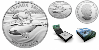 2016 - $100 for $100 Fine Silver Coin - Orca