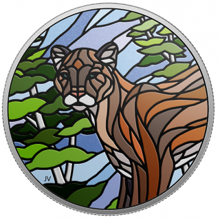 2018 - $20 - 1 oz. Pure Silver Coin - Canadian Mosaics: Cougar
