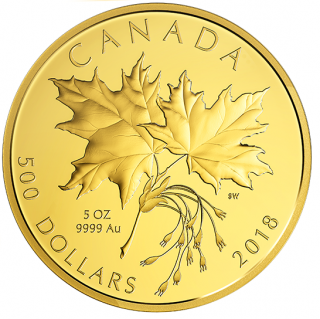 2019 - $500 - 5 oz. Pure Gold Coin - Maple Leaves
