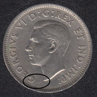 1942 - Die Break Bust to Rim - Canada 5 Cents