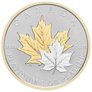 2018 - $300 - 1 oz. Pure Platinum Gold-Plated Coin - Maple Leaf Forever