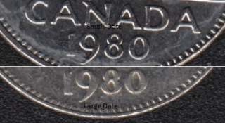 1980 - Large & Small Date - Canada 5 Cents