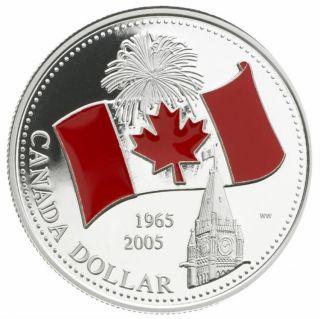 2005 - EPREUVE NUMISMATIQUE DOLLAR en ARGENT FIN EMAILLÉ DRAPEAU - Sans Taxe