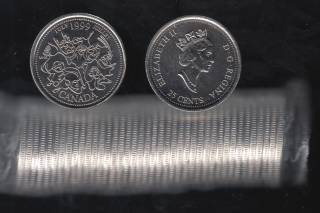 1999 Canada 25 Cents July - BU ROLL 40 Coins - UNC
