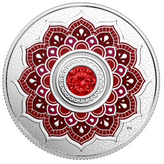 2018 - $5 - July Birthstone - Pure Silver Coin made with Swarovski® Crystal
