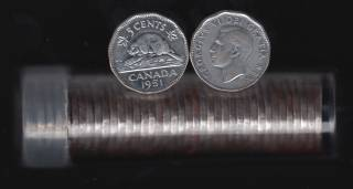 1951 Canada 5 Cents Roll - 40 Coins in Plastic Tube