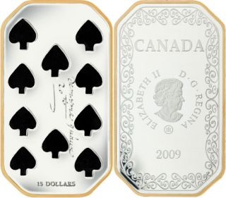 2009 - $15 Sterling Silver Coin – Ten of Spades