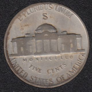 1943 S - Jefferson - Wartime Silver - 5 Cents