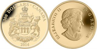 2014 - $300 - 14-Karat Gold Coin - Saskatchewan Coat of Arms