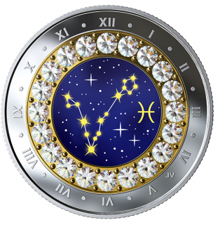 2019 - $5 - 2019 Pisces: Zodiac Series - Pure Silver Coin made with Swarovski® Crystals