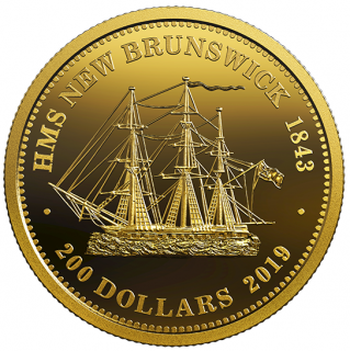 2019 - $200 - 1 oz. Pure Gold Coin - HMS New Brunswick 1843