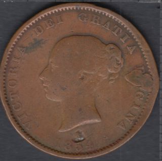 N.B. 1854 Victoria Dei Gracia Regina Half Penny Token - Holed & Repair- NB-1B