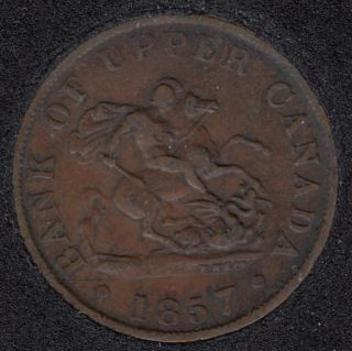 P.C. 1857 Bank of Upper Canada Half Penny - VF - PC-5D