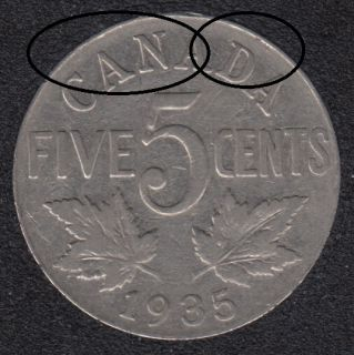 1935 - Die Break CANADA Attached  - Canada 5 Cents