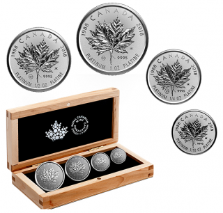 2018 - Pure Platinum 4-Coin Fractional Set - The 30th Anniversary of the Platinum Maple Leaf
