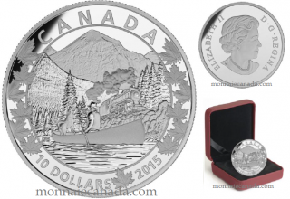 2015 - $10 - 1/2 oz. Fine Silver - Canoe Across Canada - #3 Magnificent Mountains
