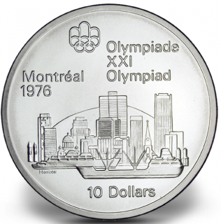 1976 - #03 (1973) - $10 - Sterling Silver Coin, Montreal Summer Olympic Games, Montreal Skyline