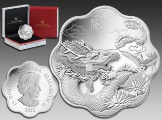 2012 - $15 - Canada Dollars Fine Silver - Lunar Lotus - Year Dragon - No Tax
