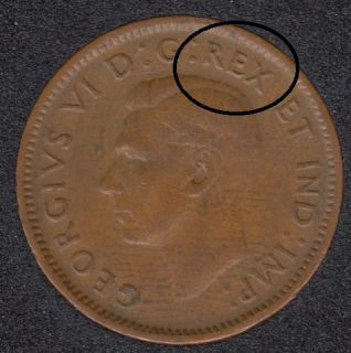 1944 - Double REX - Canada Cent