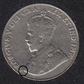 1933 - Die Break - Bust to G Attached - Canada 5 Cents