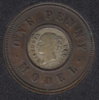 1844-1848 Great Britain One Penny Model Token Queen Victoria