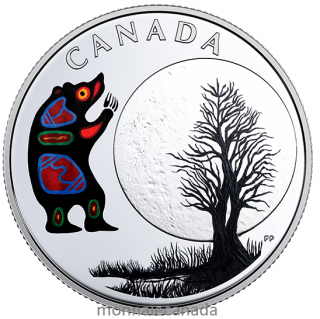 2018 - $3 - Pure Silver Coloured Coin - Thirteen Teachings From Grandmother Moon: Bear Moon