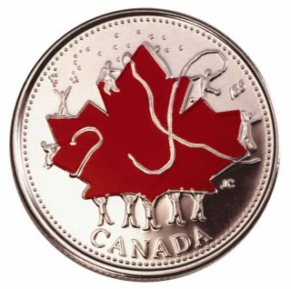 2002 Colorized 25 Cents Canada Day