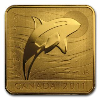 2011 - $3 - Sterling Silver Gold Plated Square Coin - Orca Whale