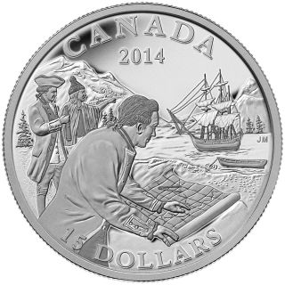 2014 - $15 - Fine Silver Coin - Exploring Canada - The West Coast Exploration