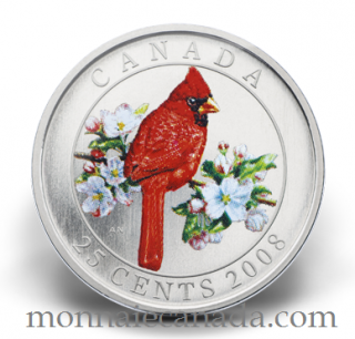2008 - 25 cent Coloured - Northern Cardinal