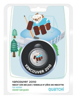 2010 -50 cents - Quatchi Olympic Mascot Puck and Coin Set - Vancouver
