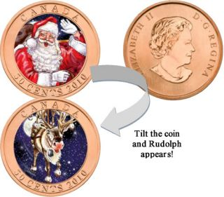 2010 - 50 Cents - Santa Claus & Rudolph Red-Nosed Reindeer Lenticular Series