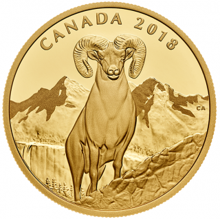 2018 - $200 - 99.999% 1 oz. Pure Gold Coin - Bighorn Sheep