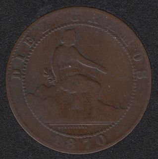 1870 - 10 Centimos - Espagne