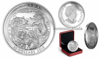 2015 - $20 - 1 oz. Fine Silver Coin – Grizzly Bear: Family
