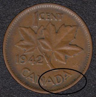 1942 - Break A D Attached to Rim - Canada Cent