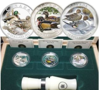 2013 2014 - $10 - Fine Silver Coins - Ducks of Canada 3-Coin Box set