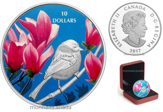 2017 - $10 - 1/2 oz. Pure Silver Coloured - Birds Among Nature's Colours - Chickadee