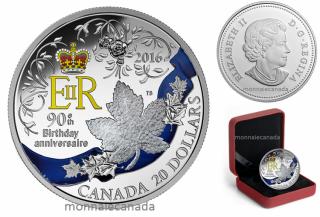 2016 - $20 - Pièce colorée de 1 oz en argent fin – Célébration du 90e anniversaire de Sa Majesté