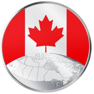 2019 - $5 - Pièce photoluminescente en argent pur - Le Canada en tête