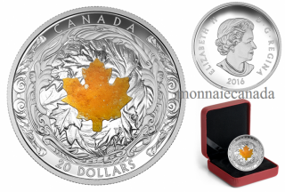 2016 - $20 - 1 oz. Fine Silver Coin – Majestic Maple Leaves With Drusy Stone