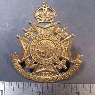 #1-3 Volticeurs De Quebec 1885 Force A Superbe Mercy Foible Cap Badge